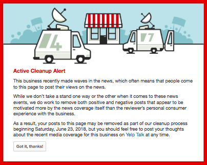 Yelp's message on the Red Hen's profile.