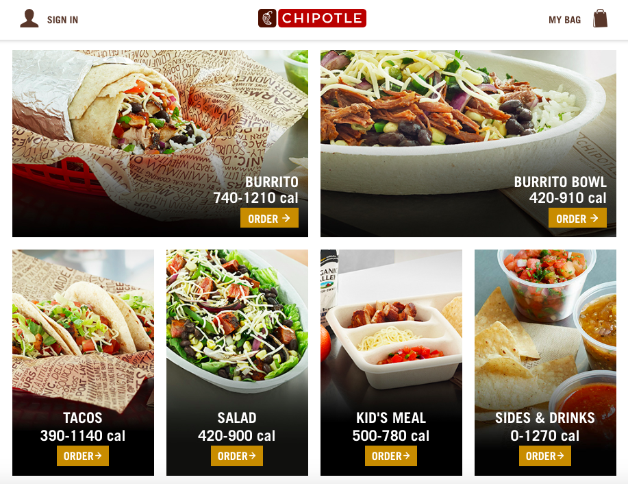 Chipotle's online ordering |   Chipotle