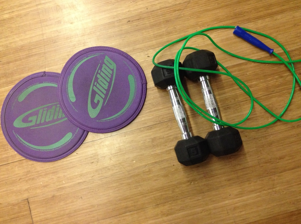 The equipment we used for our Tabata workout. The gliders go under your feet to challenge your body to stay stable (they made the mountain sliders and shoulder taps crazy hard).