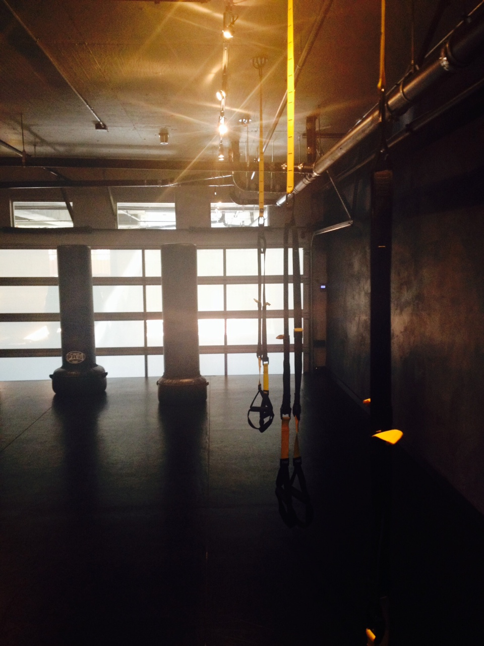TRX straps are anchored to the ceiling and allow you to use your body weight and gravity to do any number of super-challenging moves.