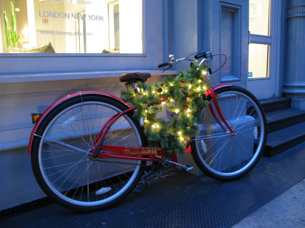 Bike decorated for Christmas, Soho