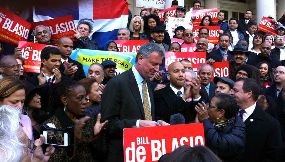 Bill de Blasio and wife attend rally at City Hall. ©2013 Rita Rivera