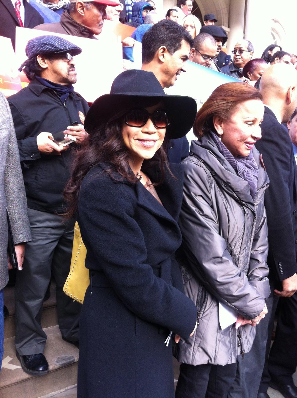 Rosie Perez and Congresswoman Nydia Velazquez at Bill De Blasio Rally, City Hall