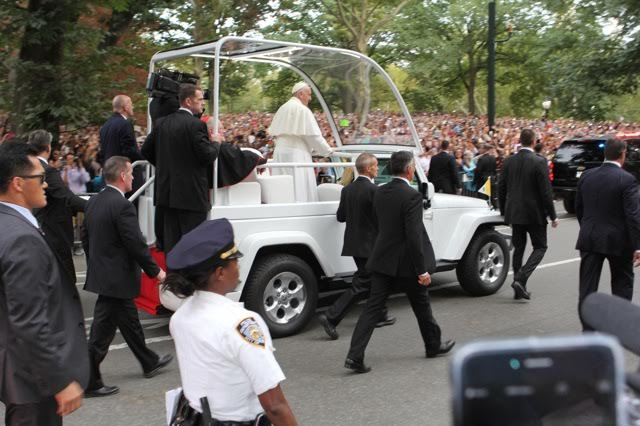Pope Francis in Central Park September 25, 2015.