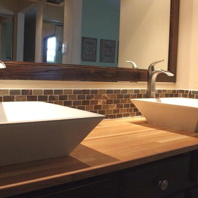 Oak butcher block countertops installed in master bathroom.  All made out of leftover scrap wood.  #HunterWagnerDesigns #countertop #bathroom #renovation #oak #wood #woodworking #diy