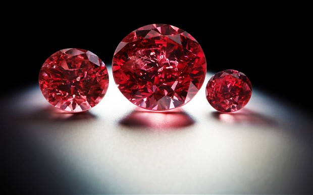 Image: Rio Tinto's rare red diamonds on display. 2013