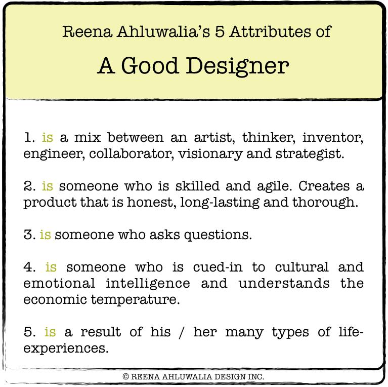 Image: ©Reena Ahluwalia's 5 Attributes of a Good Designer.
