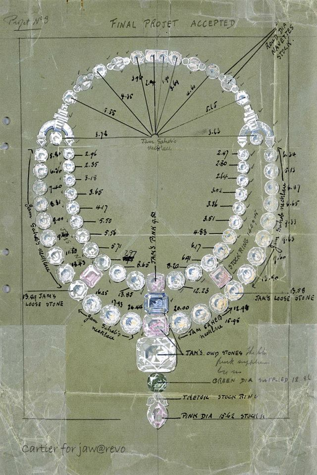 "Drawing of the ceremonial necklace for the Maharajah of Nawanagar, 1931, London Cartier Archives. Jacques Cartier presented the Maharaja with a dazzling project. Sadly, the Maharaja of Nawanagar had little time to wear the ""finest cascade of coloured diamonds in the World"". He died in 1933, two years after the necklace was delivered. Image: Cartier Archives"