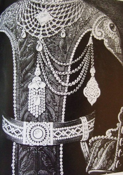 End of 19th century rendering by Chaumet staff designer, of a proposed ensemble of ornaments for the uniform of a Maharaja. Rendering shows the use of diamonds, emeralds and pearls. Courtesy Chaumet.