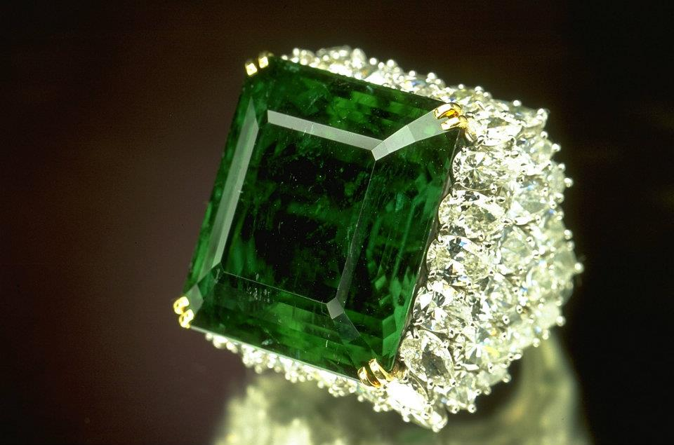 The superb clarity and color of emerald ranks it among the world's finest Colombian emeralds. It was once the centerpiece of an emerald and diamond necklace belonging to the Maharani of the former state of Baroda , India. It originally weighed 38.4 carats, but was recut and set in a ring designed by Harry Winston, where it is surrounded by 60 pear-shaped diamonds totaling 15 carats. Photo: Smithsonian