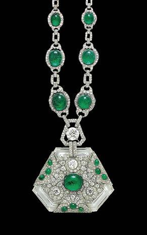 Emerald necklace & pendant that belonged to Maharani Prem Kumari, wife of the Maharaja of Kapurthala. 1910