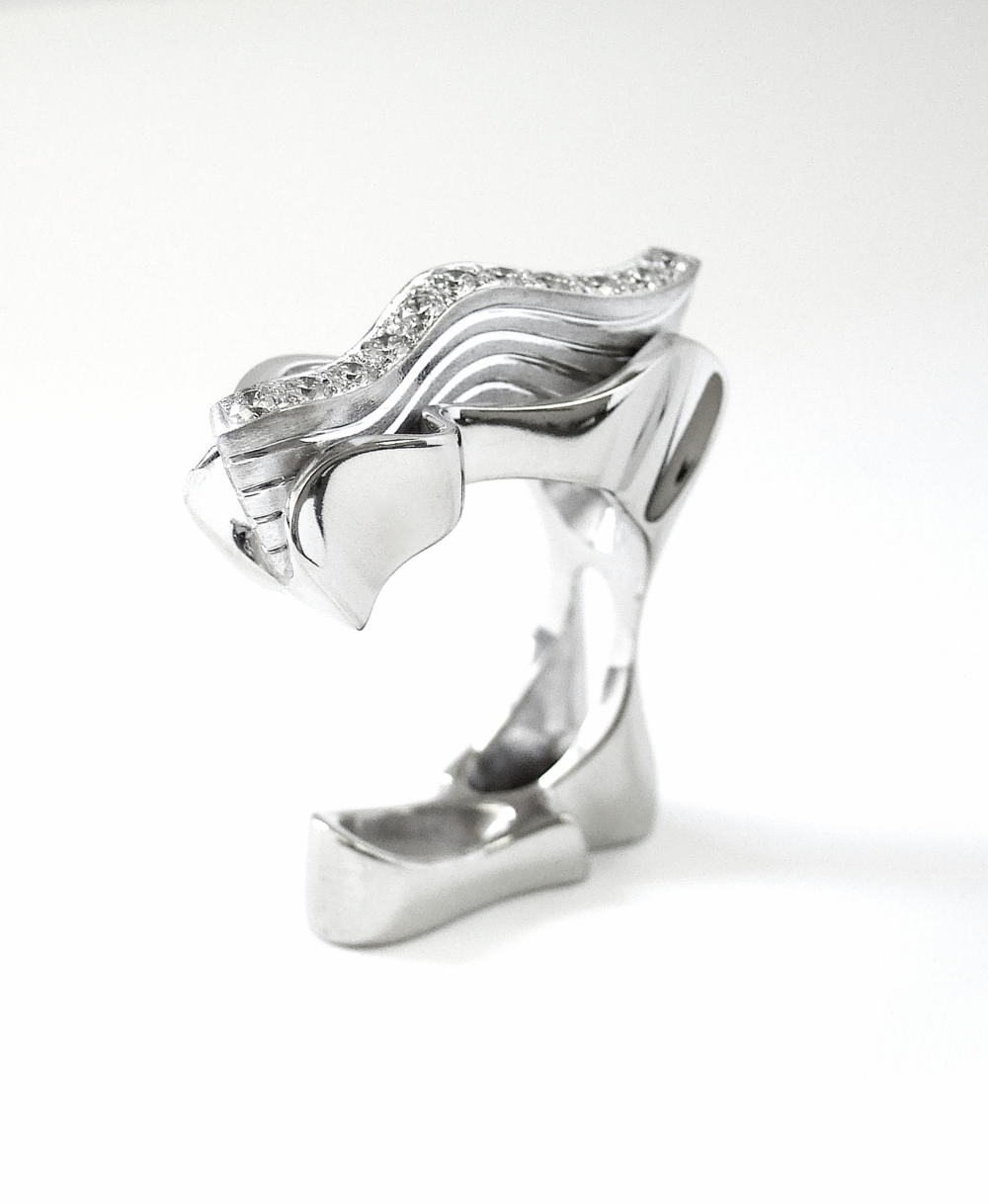 'Glacier' ring by Reena Ahluwalia. Canadian diamonds set in 18K white gold.