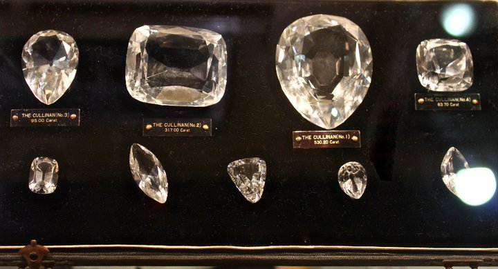 The  diamond was presented to Great Britain's King Edward VII who asked the  Asscher brothers to cleave it. In 1908, Joseph Asscher cut the stone  into 9 large stones and 42 small stones.   Here are the replicas of Cullinan polished diamonds. Image: Royal Asscher Archives
