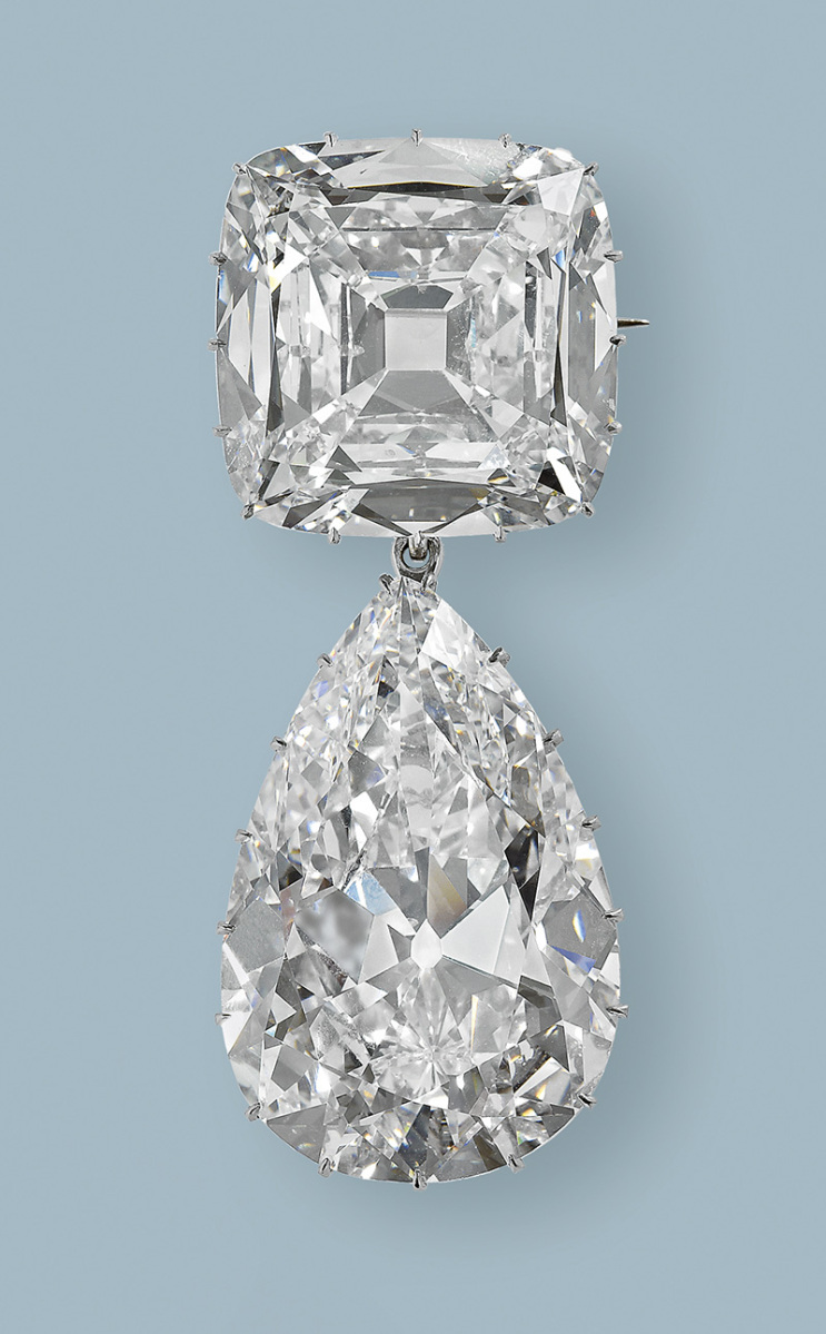 Cullinan diamond III and IV Brooch: The third and fourth largest of the  Cullinan gems - a pear-shaped drop of 94.4 carats (III) and the  cushion-shaped 63.3 carat IV - were originally placed by Queen Mary on  her new crown in 1911. The stones were most often worn hooked together  as a pendant brooch.
