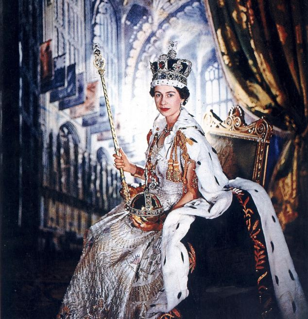Her Majesty Queen Elizabeth II wears the Imperial State Crown and holds the Sovereign's Sceptre, both of which contain stones cut from the Cullinan Diamond in this picture from her Coronation. Image: MailOnline