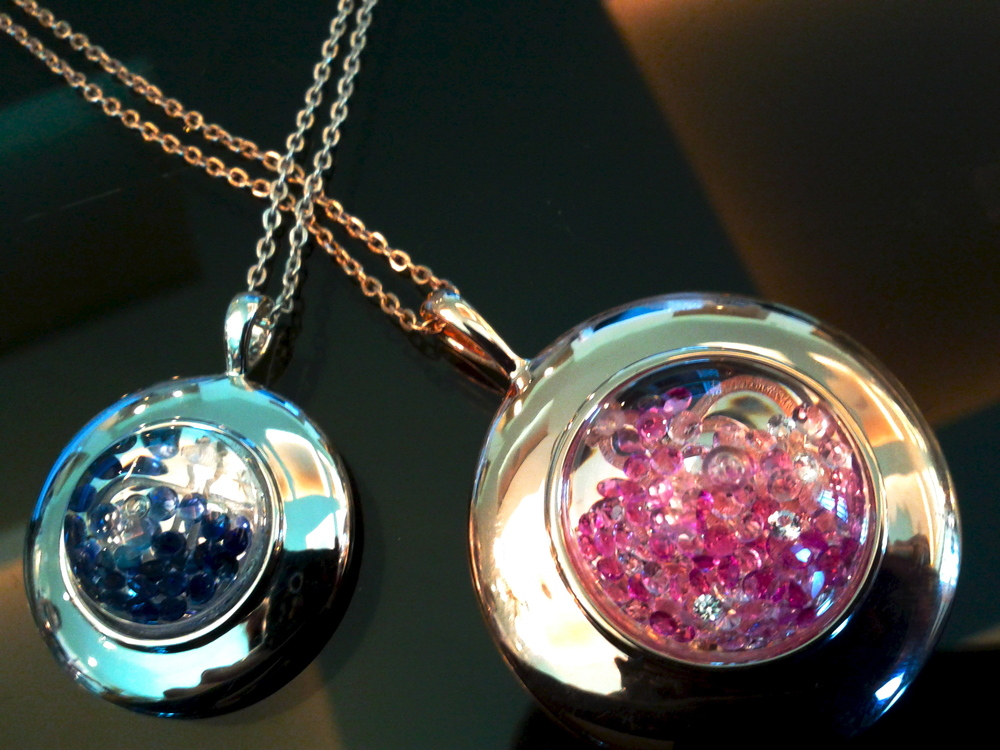 Floating-blue-pink sapphire pendants, Shining Stars collection, Reena Ahluwalia for Royal Asscher Diamonds.