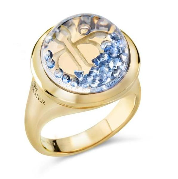 Floating-blue sapphire ring, Shining Stars collection, Reena Ahluwalia for Royal Asscher Diamonds.