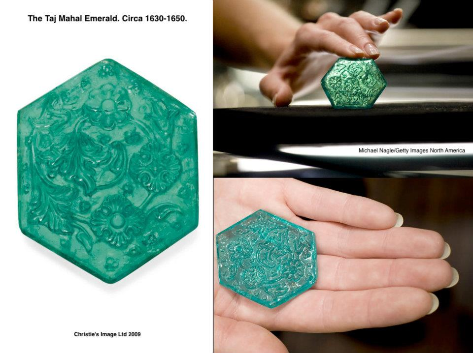 One of the most treasured jewel in Indian history: The Taj Mahal Emerald. Circa 1630-1650.   A hexagonal-cut emerald, weighing approximately 141.13 carats, it is  carved with stylized chrysanthemum, lotus and Mughal poppy flowers,  within asymmetrical foliage, to the plain reverse and beveled border.  This intricately carved stone is one of a small group of exquisite  emeralds commissioned by the Mughal Court, possibly during the reign of  Emperor Shah Jahan.     The  name of the emerald is derived from its intricately carved surface of  lotus, poppy flowers, and other foliage that mirrors the decoration of  the Taj Mahal. At  the Paris Exhibition of 1925, 'The Taj Mahal Emerald' was one of three  lar   ge Mughal emeralds that featured prominently in Cartier's Collier  Bérénice, a spectacular shoulder ornament that also boasted pearls,  diamonds, and black enamel.