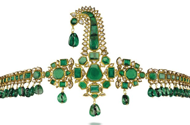 Mughal emerald and diamond sarpech. Mid-18th century. 78 emeralds are of Colombian origin. Photo: Christie's