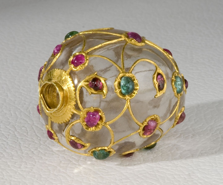 Mango-shaped scent bottle Mid-17th century Rock crystal with rubies and emeralds set in gold. Mughal India. Image: Asia Society