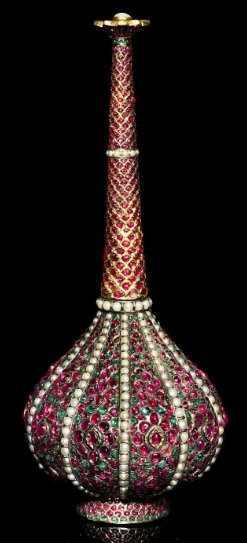 A Mughal gem-set silver and gold rosewater sprinkler. North India, , 17th/18th century. Photo: Christie's