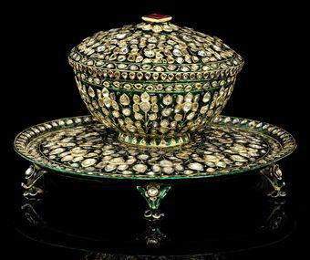 A diamond-inset and enamelled bowl and stand. Deccan or Mughal India, late 18th century. Photo: Christie's