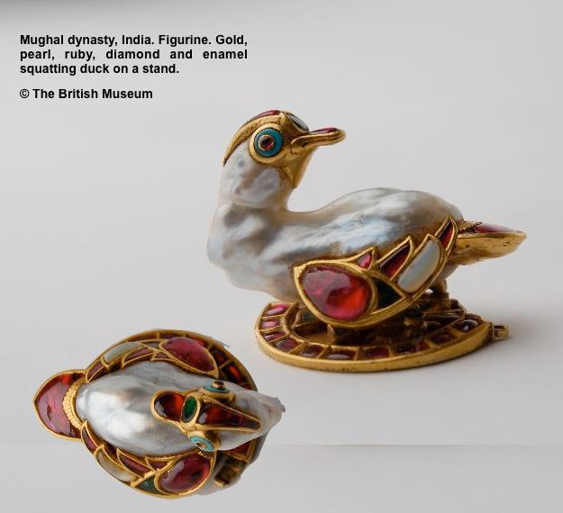 This  extraordinary figurine comes from the Mughal dynasty of India. Gold,  pearl, ruby, diamond and enamel squatting duck on a stand. Photo:  British Museum