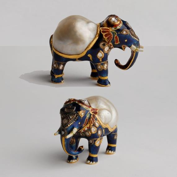 Gold  and enamel figurine of an elephant with large natural baroque pearl  forming its back and diamonds on its head. Mughal, India. Image credit:  British Museum