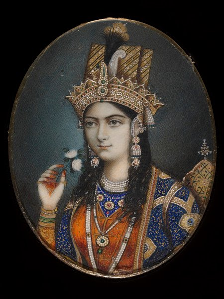 Portrait  of Mumtaz Mahal (Arjumand Banu Begum). She was the favourite wife of  the Mughal Emperor Shah Jahan. She died shortly after giving birth to  her fourteenth child in 1631. The following year the emperor began work  on the mausoleum that would house her body. The result was the  world-famous Taj Mahal. Photo: V&A