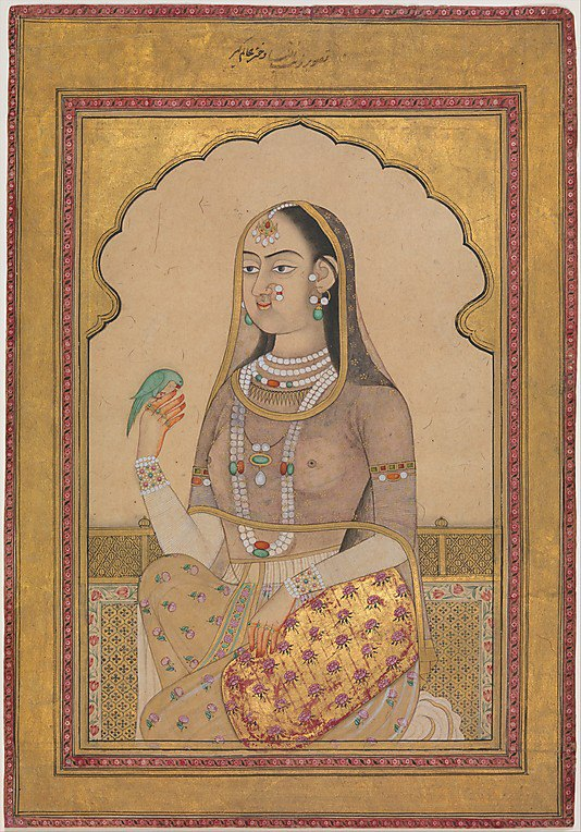 A Bejeweled Maiden with a Parakeet. Illustrated single work. ca. 1670–1700, Mughal. India, Golconda, Deccan. The bird sits on the maiden's henna-reddened fingers, each one of which is separately adorned by a diamond ring. She also wears strands of pearls, with emeralds and rubies.