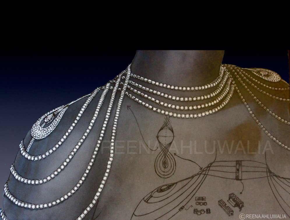 Original hand-drawn blueprint of 'Sensuous' Diamond body ornament by ©Reena Ahluwalia. 196.56 Carats.