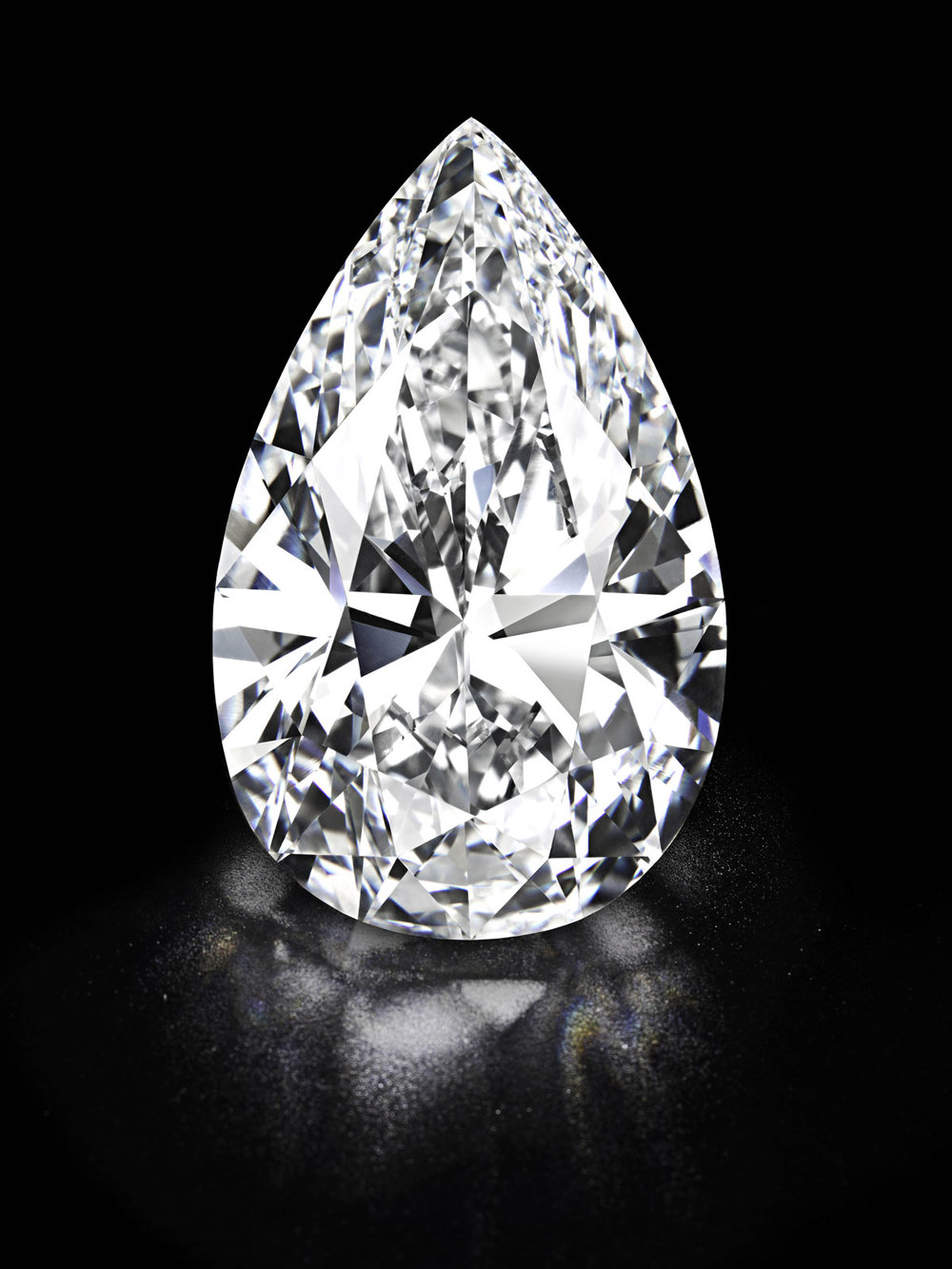"The 'Winston Legacy' is the largest white diamond ever to come to auction. The 101.73ct, Type IIa,  pear-shaped, D colour, flawless diamond was sold to Harry Winston at Christie's auction of jewels in Geneva on 15 May 2013. Its the ""largest of its type"" ever offered for public sale. Christies Images Ltd 2013."