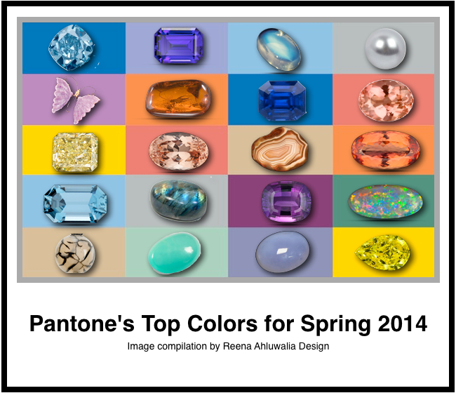 Pantone Spring 2014 Top Colors Paired with Gemstones. Image compiled by jewelry designer Reena Ahluwalia.