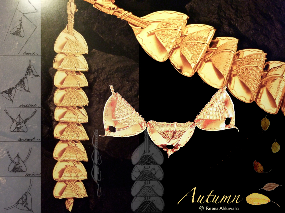 Ode to Fall - 'Autumn' necklace by Reena Ahluwalia. 22 K yellow gold.