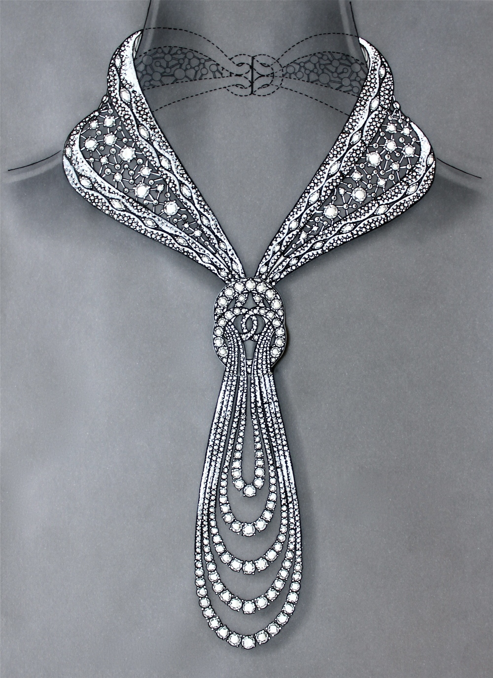 Original hand-drawn blueprint for Eternal diamond necklace by ©Reena Ahluwalia