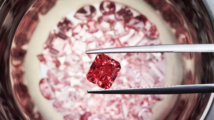 The most valuable diamond in the 2014 collection is the Argyle Cardinal a spectacular 1.21-carat radiant cut Fancy Red diamond which was sold in October 2014 to one of Argyle's exclusive retailers, Glenn Bakker Jewels, for an undisclosed sum. In its 30 year history the Argyle Pink Diamonds Tender has offered only 13 Fancy Red diamonds, with only three being larger than one carat. Image: Rio Tinto Diamonds