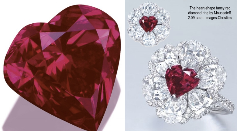 The heart-shape fancy red diamond ring by Moussaieff.  The 2.09 ct. ring sold for $5,095,872 ($2.44 million per carat) to a private Asian investor in November 2015 in Hong Kong. Courtesy Christie's