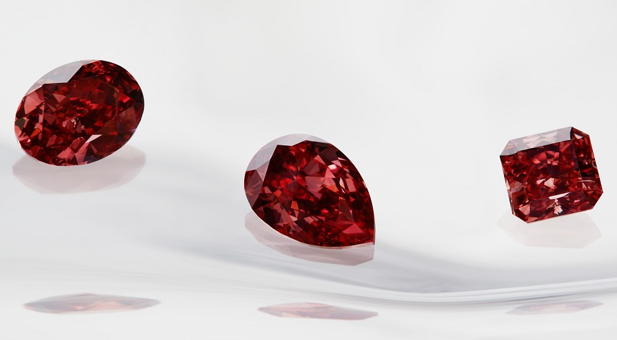 "Fancy red diamond collection from the Argyle Pink Diamonds 2015 Tender. Image: Rio Tinto Diamonds.  The 2015 Tender, known as the Connoisseur's Collection, is made up of 65 diamonds weighing a total of 44.14 carats, including four fancy red diamonds which can attract bids of more than $1 million per carat. ""It's a very tightly managed extraction process because of the value. It's less cause of celebration but more cause for very accurate record keeping and sharing of that information through the business so we can start forecasting. It takes about a year from the time we extract to actually going through the planning process and polishing process,"" said Argyle diamond mine manager Josephine Johnson."
