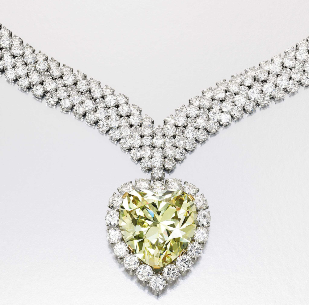 'The Windsor Heart' Yellow Diamond. 47.14cts yellow diamond was bought by the Duke of Windsor for the Duchess (Wallis Simpson) in 1951 from Harry Winston to complement her other yellow diamond and set in a ring. Image: Sotheby's