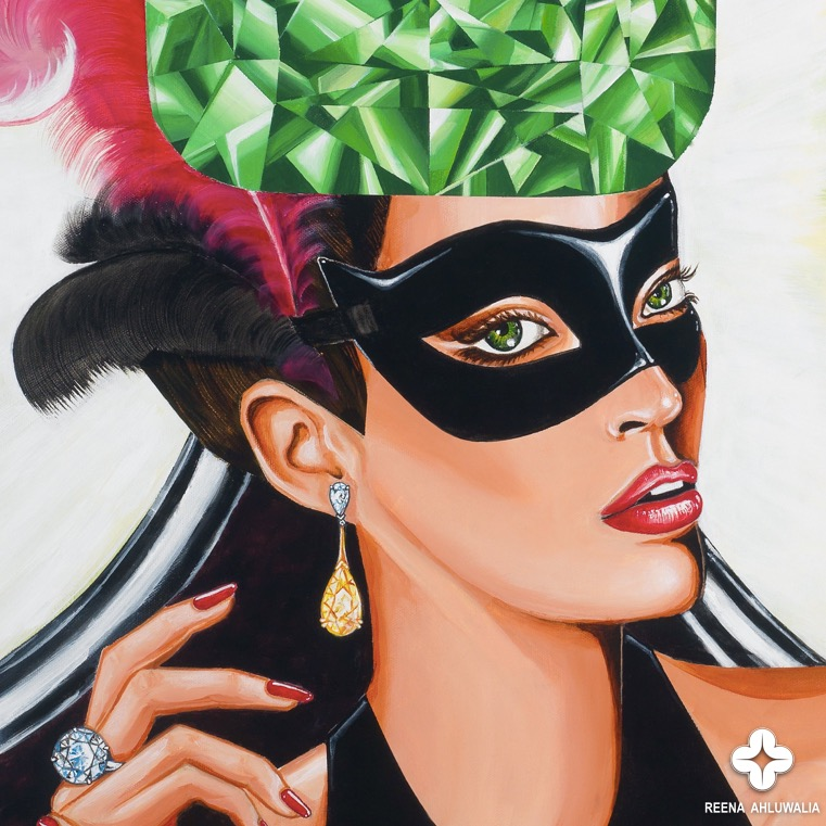 "Detail: Green diamond symbolizes curiosity, with color green and color black that deepen the sense of mystery. The protagonist in my painting is masked and wears colourless and yellow diamonds. [The Portal of Mystery. 30""x30"". Acrylic on Canvas. ©Reena Ahluwalia]"