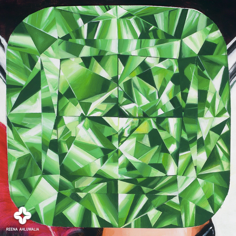 "Detail: Green cushion cut diamond in close-up, symbolizes curiosity. [The Portal of Mystery. 30""x30"". Acrylic on Canvas. ©Reena Ahluwalia]"