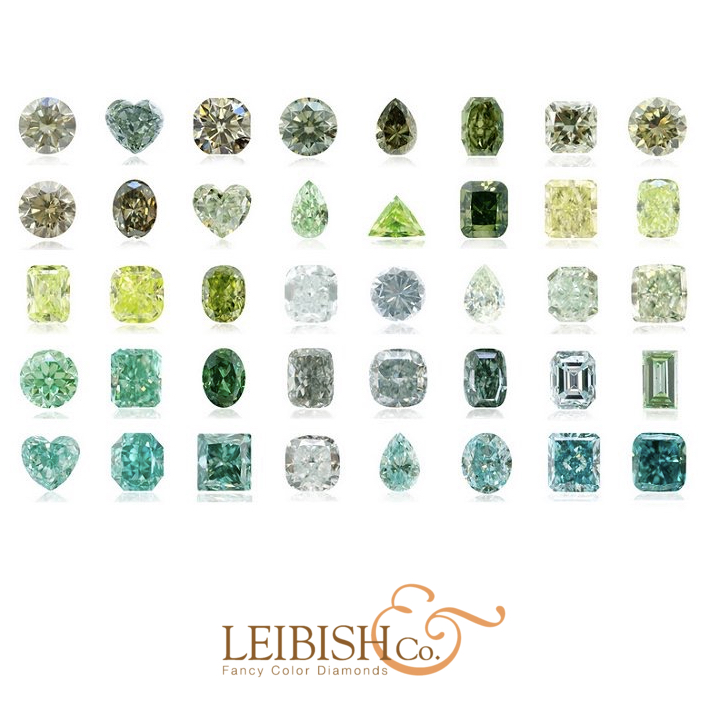 Pure green diamonds are extremely rare and highly valued, ranging from light mint greens to vivid grass greens. Green Diamonds can contain a yellowish, bluish or grayish modifying color. Image:  Leibish & Co.