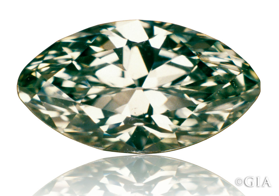 The color of this marquise-shaped natural green diamond is typical of diamonds in the green color family. Green diamonds, when fashioned as gems, very rarely have a pronounced green body color. Image: GIA