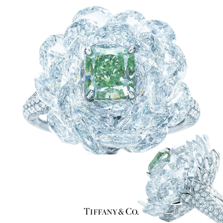 Tiffany & Co. Ring A rare green diamond emerges from tiered white diamonds like a cool summer breeze. Radiant-cut Fancy Vivid Green diamond, carat weight 1.21, clarity grade SI2; rose-cut white diamonds, carat total weight 9.20; round brilliant white diamonds, carat total weight 1.25. Image: Tiffany & Co.