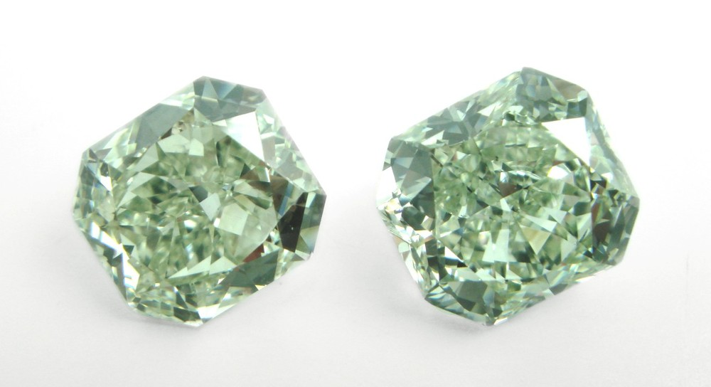 Pair of Radiants,  fancy green diamonds. Image: Unknown