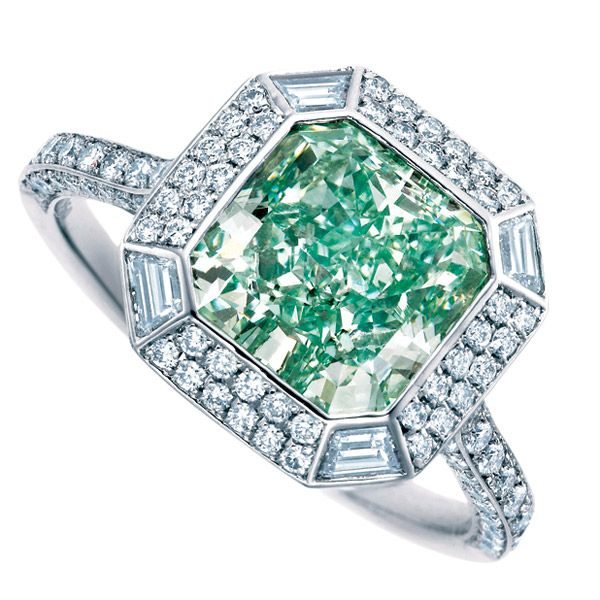 Blue/green emerald-cut diamond ring by Tiffany & Co.