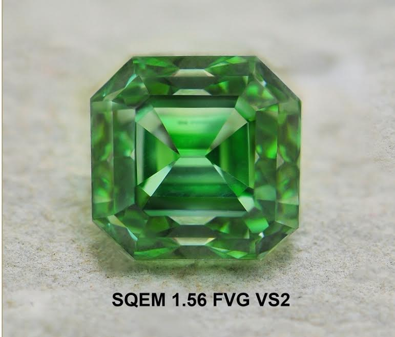 An exceptional 1.56 carat, Fancy Vivid Green Diamond manufactured by  A.A Rachminov Diamonds . Image: Ori Vechler, A. A. Rachminov Diamonds.