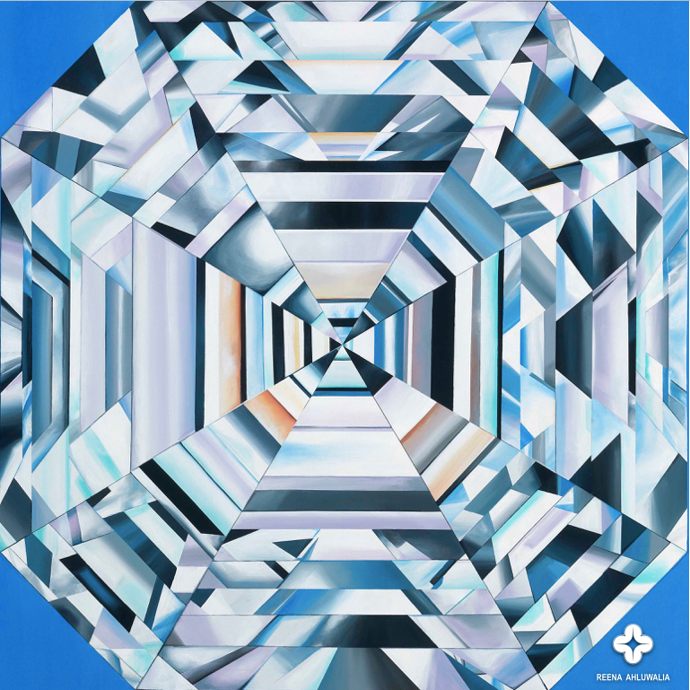 Detail of the Asscher Cut Diamond. The Portal of Eternity. 48 x 60 inches (4 x 5 feet). Acrylic on Canvas. Painting by ©Reena Ahluwalia