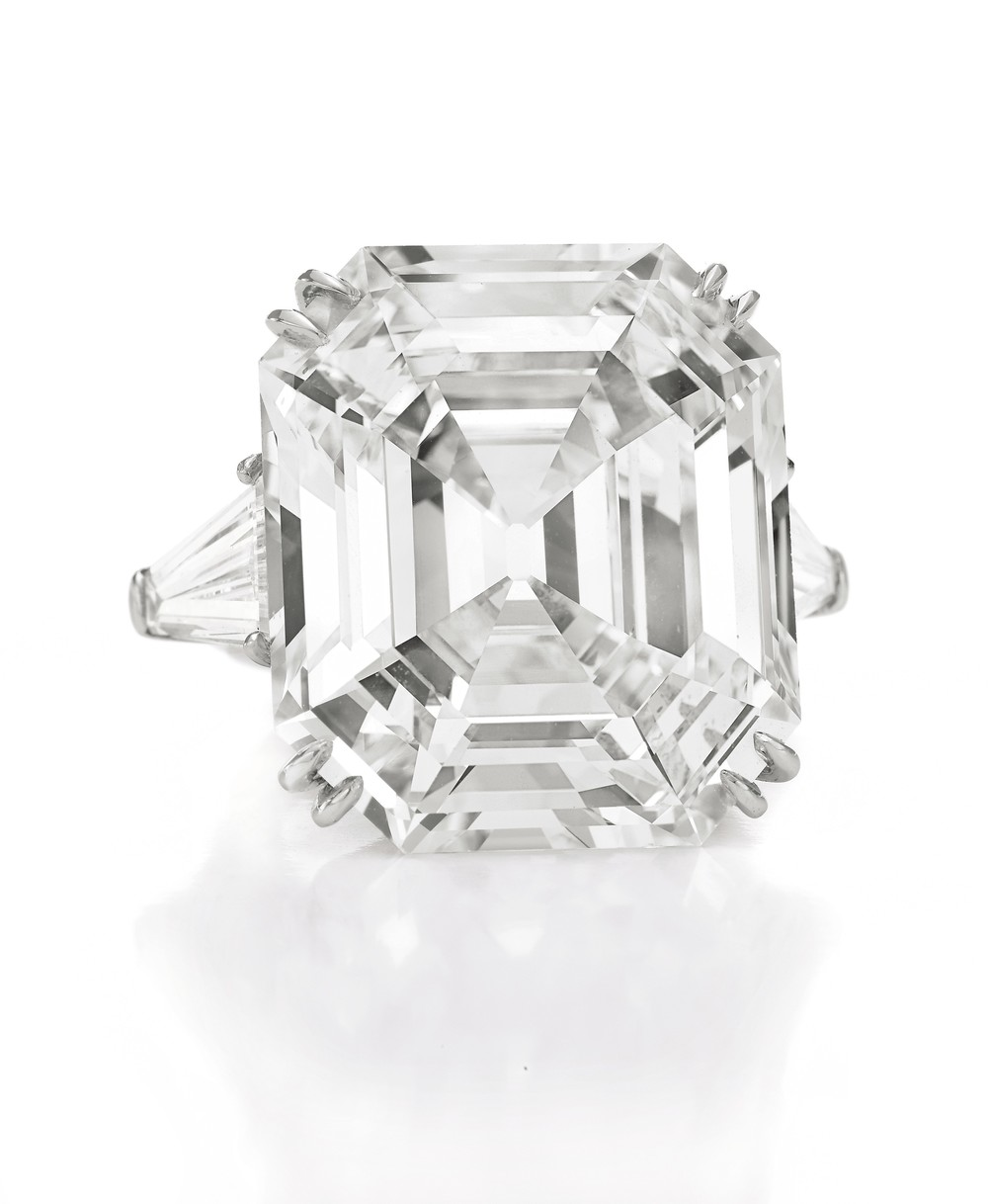 "The ""Elizabeth Taylor Diamond"" is the largest Asscher cut diamond in the world. It's a D color, Vs1 clarity, Type IIa diamond. Elizabeth Taylor wore it every day and it was her favorite diamond. The Asscher Cut was cut and invented by the Joseph Asscher of Royal Asscher Diamond Company in 1902, and was the first patented cut in the world. ""This remarkable stone is called the Krupp diamond because it had been owned by Vera Krupp, of the famous munitions family that helped knock off millions of Jews,"" wrote Taylor. ""When it came up for auction in the late 1960s, I thought how perfect it would be if a nice Jewish girl like me were to own it. In truth, though, there's nothing funny about the Krupp. When I look into it, the deep Asscher cuts—which are so complete and ravishing—are like steps that lead into eternity and beyond. With its sparks of red and white and blue and purple, and on and on, really, it sort of hums with its own beatific life. To me, the Krupp says, 'I want to share my chemistry—my magic—with you.'"