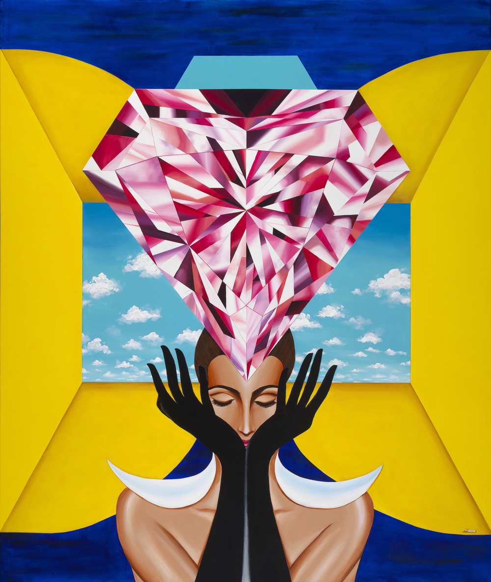 The Portal of Empowerment. 60 x 72 inches (6 x 5 feet). Acrylic on Canvas. Diamond Painting by ©Reena Ahluwalia.